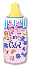 31''(78см) шар   фигура бутылочка для девочки розовый