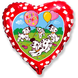 Шар 18'' (45см)  сердце     с днем рождения далматинцы красный