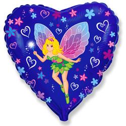 18''(45см) шар   сердце леди бабочка синий