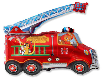 Шар 32'' (81см)  фигура     пожарная машина красный