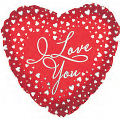 Шар 18'' (45см)  сердце     я люблю тебя водопад сердец