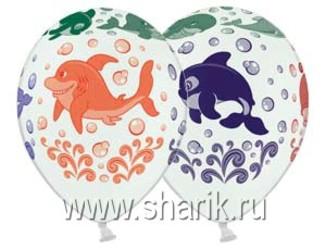 Шар 14'' (36см)  паст  морск животные