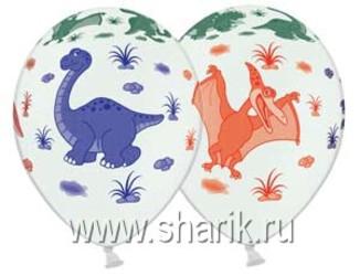 Шар 14'' (36см)  пастель пастель  динозаврики