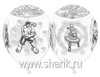 Шар 14'' (36см)  пастель пастель  marvel мстители