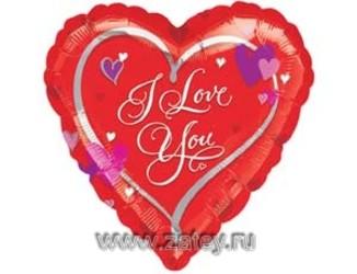 Шар 18'' (45см)  сердце    с сердечками
