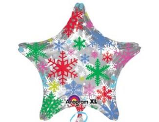 Шар 18'' (45см)  звезда   снежинки