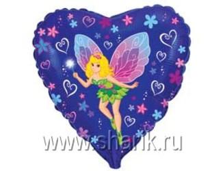 Шар 18'' (45см)  сердце  девочка фея  синем  fm