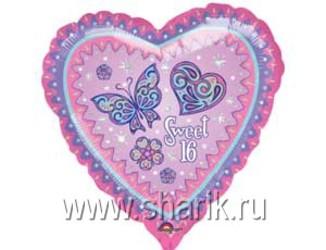 Шар 18'' (45см)  сердце   искристое