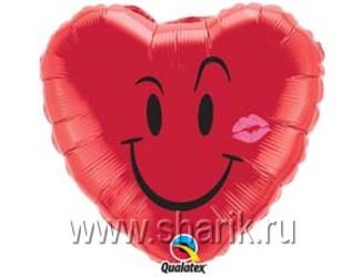Шар 18'' (45см)  сердце  улыбка  с поцелуем