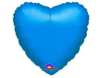 Шар 18'' (45см)  сердце металлик blue