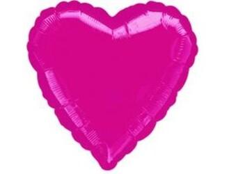 Шар 18'' (45см)  сердце металлик burgundy