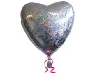 Шар 18'' (45см)  сердце silver