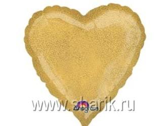 Шар 18'' (45см)  сердце gold