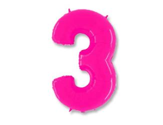 Шар 40'' (106см)  цифра    яркий розовый