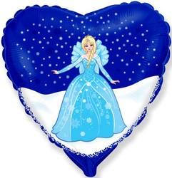 Шар 18'' (45см)  сердце     снежная королева