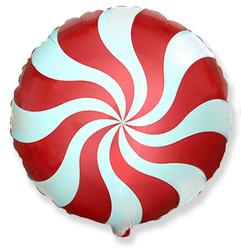Шар 18'' (45см)  круг     леденец красный