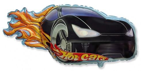 Шар 32'' (81см)  фигура     гоночная машинка черный