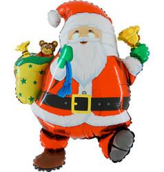 Шар 30'' (76см)  фигура     забавный дед мороз красный