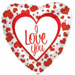 Шар 18'' (45см)  сердце     я люблю тебя с красной каймой белый