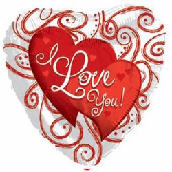 Шар 18'' (45см)  сердце     я люблю тебя вензеля и точки белый
