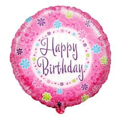 Шар 18'' (45см)  круг     цветок с днем рождения ромашки розовый