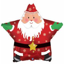 Шар 18'' (45см)  звезда     санта с новым годом красный
