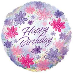Шар 18'' (45см)  круг     с днем рождения цветы голография