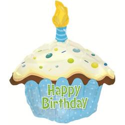 Шар 20'' (50см)  фигура     кекс с днем рождения голубой