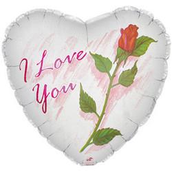 Шар 18'' (45см)  сердце     я люблю тебя роза белый