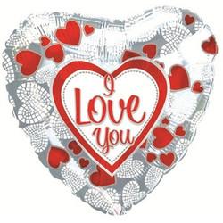 Шар 18'' (45см)  сердце     я люблю тебя мозаика  сердечек