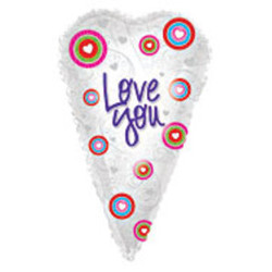 Шар 26'' (66см)  сердце      вытянутое люблю тебя белый