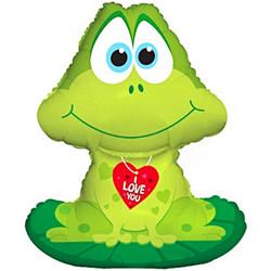 Шар 32'' (81см)  фигура     лягушка с сердцем зеленый