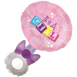 37''(93см) шар   фигура погремушка девочка розовый
