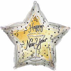 Шар 18'' (45см)  звезда     с новым годом бокал серебро
