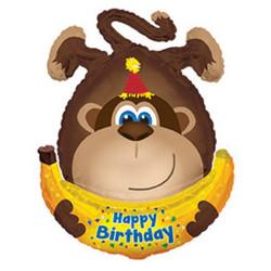 34''(86см) шар   фигура обезьянка с днем рождения коричневый