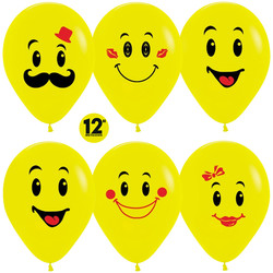 14''(36см) Шар   Смайл Желтый  пастель