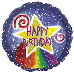 Шар 18'' (45см)  круг     с днем рождения акварель звезда синий