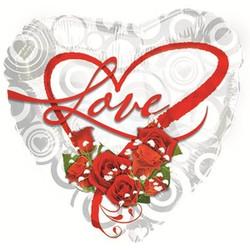 Шар 18'' (45см)  сердце     я люблю тебя букет роз белый