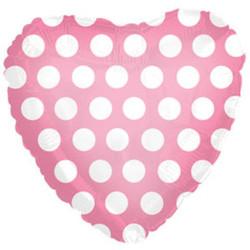 Шар 18'' (45см)  сердце     в  горошек розовый