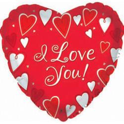 Шар 31'' (78см)  сердце     я люблю тебя классик красный