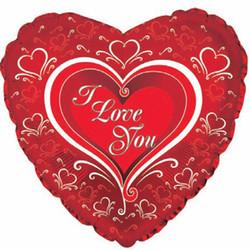 Шар 31'' (78см)  сердце     я люблю тебя элегант красный