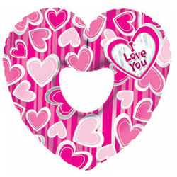 Шар 31'' (78см)  фигура     сердце я люблю тебя в полоску розовый