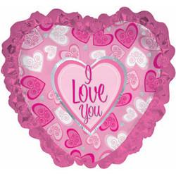 Шар 31'' (78см)  сердце     я люблю тебя розовые рюши розовый
