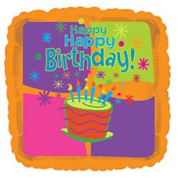 Шар 18'' (45см)  квадрат     с днем рождения торт оранжевый