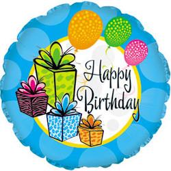 Шар 18'' (45см)  круг     с днем рождения шары и подарки голубой