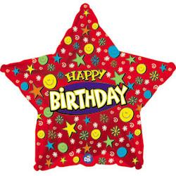 18''(45см) шар   звезда с днем рождения улыбки красный