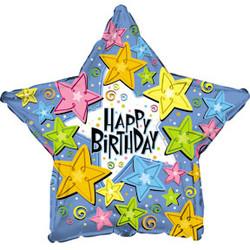 Шар 18'' (45см)  звезда     с днем рождения звезды голубой