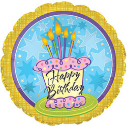Шар 18'' (45см)  круг     с днем рождения торт