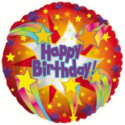 Шар 18'' (45см)  круг     с днем рождения звездный фейерверк красный