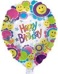 18''(45см) шар   круг с днем рождения улыбки белый